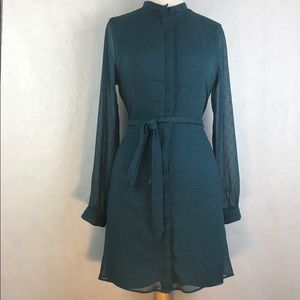 BANANA REPUBLIC BUTTON DOWN BELTED DRESS SZ 8